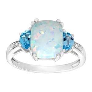 1 1/5 ct Created Opal and Natural Swiss Blue Topaz Ring with Diamonds in Sterling Silver