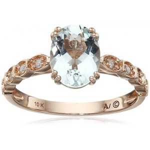 10k Pink Gold Aqua Oval Shape with Diamond Accept Ring (1/10cttw  I-J Color  I2-I3 Clarity)  Size 7