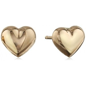 Duragold 14k Yellow Gold Tiny Heart Button Earring
