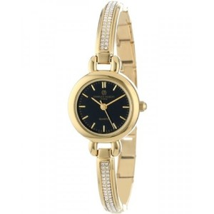 Charles-Hubert  Paris Womens 6825-G Classic Collection Gold-Plated Black Dial Watch