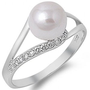 Fresh Water Pearl & Cubic Zirconia .925 Sterling Silver Ring Sizes 4-10