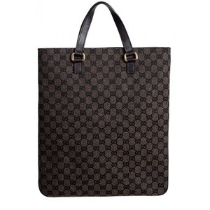 Gucci Womens Brown Canvas Leather Trimmed Guccissima Print Tote Handbag Bag