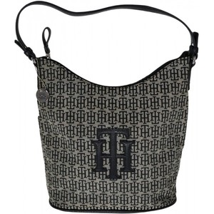 Tommy Hilfiger Womens Bucket Tote Handbag Signature Th Logo Bag