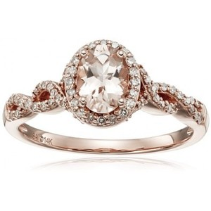 14k Pink Gold Morganite and Diamond Oval Ring (1/4cttw  I-J Color  I2-I3 Clarity)  Size 7