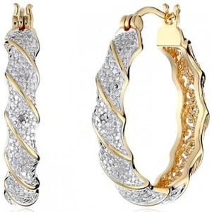 Yellow Gold Plated Two Tone Diamond Accent Twisted Hoop Earring