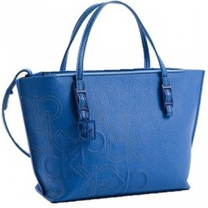 Calvin Klein Hailey Embossed Logo Studio Tote Small Bag Handbag Blue Wave eafca5259a779
