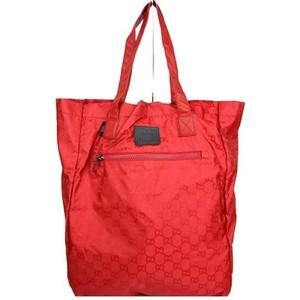 Gucci Red Nylon Guccissima Tote Bag Viaggio Collection Handbag