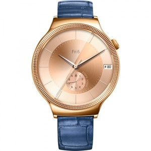 Huawei Watch Elegant Womens 44mm Smartwatch (Rose Gold Stainless Steel  Blue Italian Leather Band)
