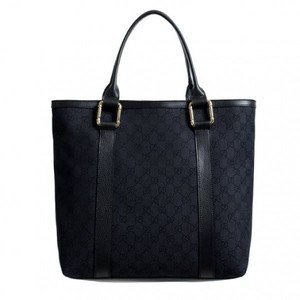 b8400238bb3bf7 Gucci Womens Black Canvas Leather Trimmed Guccissima Print Tote Shoulder Bag