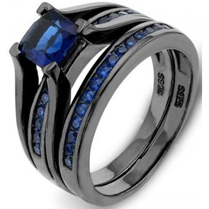 EVER FAITH Black Sterling Silver 925 Princess-Cut Sapphire Color Solitaire Cocktail Ring Set