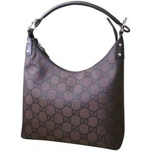 Gucci Hobo Shoulder Bag Brown Nylon Handbag