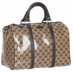 f4b02c01cdc5be Gucci 265697 Crystal Coated GG Guccissima Boston Leather Purse Satchel Bag