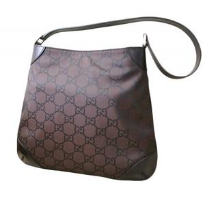 Gucci Nylon Brown Hobo Handbag Shoulder Bag