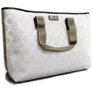 Gucci White Straw Woven Tote Bag Guccissima Trim Diamante Handbag
