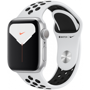 Apple Watch Series 5 44mm GPS Silver Aluminum Case with Pure Platinum/Black Nike Sport Band MX3V2