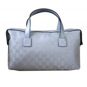 Gucci Womens Canvas Silver Bowling Bag Boston Bag Handbag