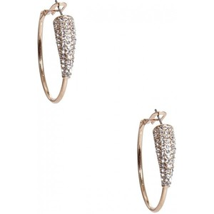 Guess Womens Gold-Tone Rhinestone Hoop Earrings