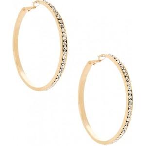 Guess Womens Large Gold Rhinestone Hoop Earrings