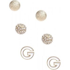 Guess Womens Gold-Tone Logo Earring Set