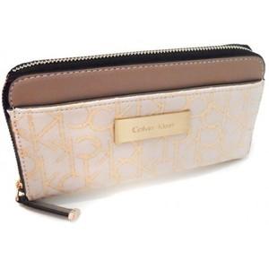 Calvin Klein Womens Candice Lurex Zip Continental Wallet Stone Beige