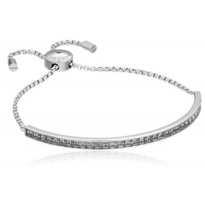 Michael Kors Core Silver-Tone and Cubic Zirconia Slider Bangle Bracelet