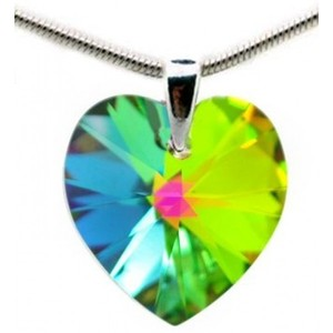 Green Blue Red Yellow Sterling Silver Pendant Necklace