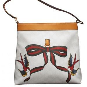 Gucci White Canvas Bird Ribbon Tattoo Handbag Meier Hobo Bag