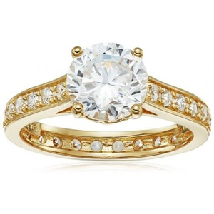 18k Yellow Gold-Plated Sterling Silver and Cubic Zirconia Ring  Size 7