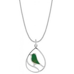Boma Sterling Silver Green Turquoise Bird Necklace