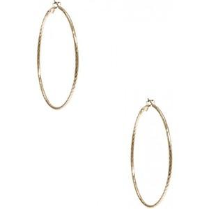 Guess Womens Gold-Tone Textured Hoop Earrings