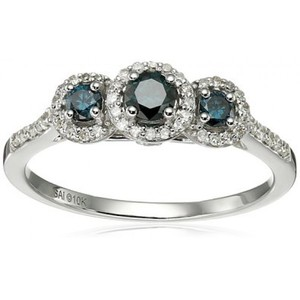 10k White Gold Blue and White Diamond 3-Stone Ring  Size 7 (1/2cttw  I2-I3 Clarity)