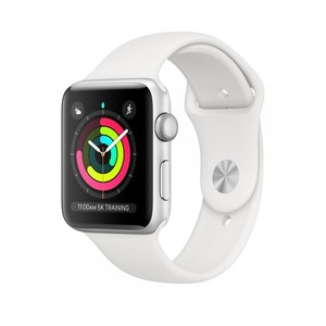 Apple Watch Series 3 42mm Silver Aluminum Case with white Sport Band GPS MTF22