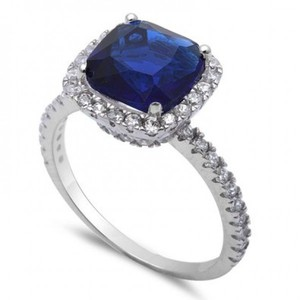3CT Cushion Cut Simulated Blue Sapphire & Cz .925 Sterling Silver Ring Sizes 5-11