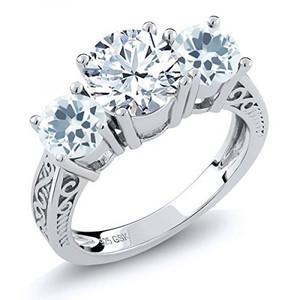 2.20 Ct Round White Topaz Sky Blue Aquamarine 925 Sterling Silver 3-Stone Ring