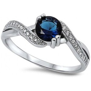 Round Simulated Blue Sapphire & White Cubic Zirconia .925 Sterling Silver Ring Sizes 4-11