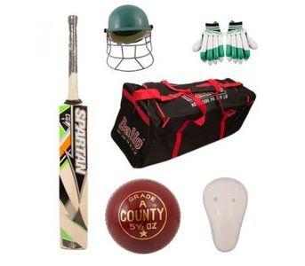 Pack of 6 - Cricket Kit (Hard Ball Bat + Hard Ball + Gloves + Cricket Kit Bag + Helmet + Under Gu...