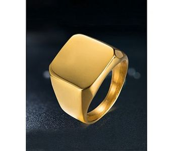 Firepark Mens Polished Square Plain Signet Gold Plated Ring