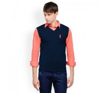 Sleeveless Winter Sweater For Him In Navy Blue Color