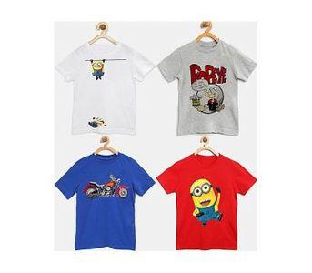 Sasta Bazar Pack Of 4 Mix Printed T-Shirts For Kids