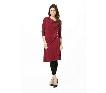 Fashion Zone Maroon Viscose Buttoned Tunic for Women