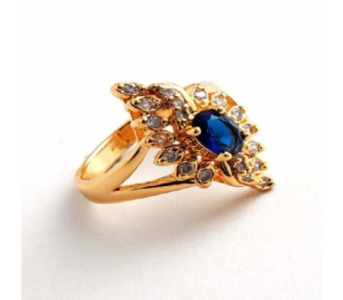 Charji Blue Unique Design Zircon Crystal Gold Plated Ring