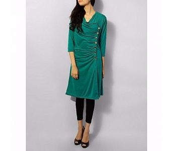 Fashion Zone Green Embellish Button Tunic - FZ-HS-0100