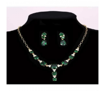 Charji-Islamabad Green - Pendant Necklace Water Drop Earrings