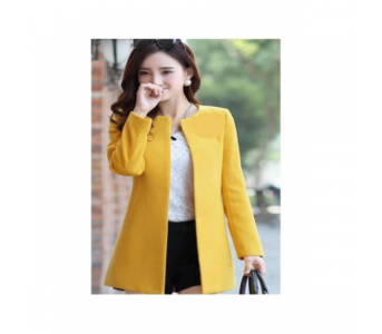 AleraShine Yellow Fleece Stylish O-Neck Trench Long Coat For Women