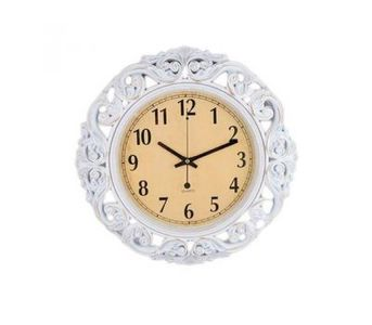 Pvc High Quality Silent Non Ticking Home Office School Quartz Wall Clock - White Antique Flower -...