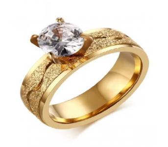 Charji-Islamabad Golden Fashion Dull Polish Stainless Steel Zirconia Ring