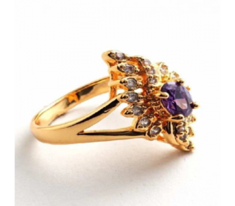 Charji Purple Unique Design Zircon Crystal Gold Plated Ring