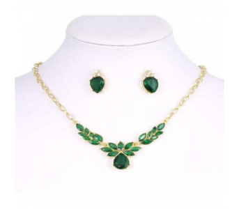 Charji-Islamabad Golden Green Women Flower Necklace & Earring Set