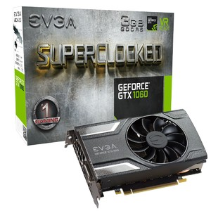 EVGA GeForce GTX 1060 SC Gaming  3GB GDDR5  ACX 2.0 (Single Fan) Graphics Card