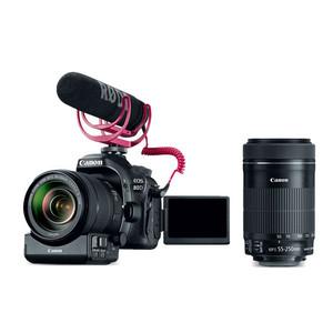 Canon EOS 80D EF-S 18-135mm IS USM Video Creator Kit + EF-S 55-250mm f/4-5.6 IS STM Lens